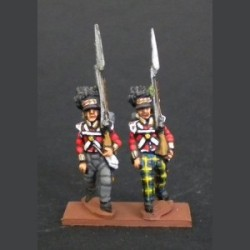 Infantry of the Highland Infantry flanking company marching with trousers
